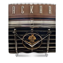 1955 Packard 400 Hood Ornament 2 Shower Curtain by Jill Reger