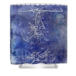 1956 Helicopter Patent Blue Shower Curtain by Jon Neidert