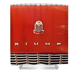 1960 Triumph Tr3 Emblem Shower Curtain by Jill Reger