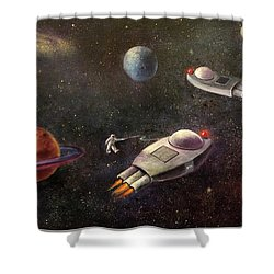 1960s Outer Space Adventure Shower Curtain by Randy Burns aka Wiles Henly