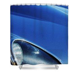 1963 Jaguar Xke Roadster Headlight Shower Curtain by Jill Reger