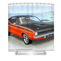 1970 Barracuda Aar  Cuda Classic Muscle Car Shower Curtain by John Samsen