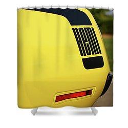 1970 Plymouth Hemi Cuda Drivers Rear Hockey Stripe Shower Curtain by Gordon Dean II