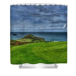 1st Green Cape Cornwall Golf Club Shower Curtain by Chris Thaxter