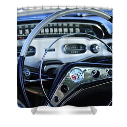 1958 Chevrolet Impala Steering Wheel Shower Curtain by Jill Reger