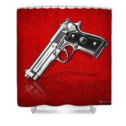 Beretta 92fs Inox Over Red Leather  Shower Curtain by Serge Averbukh