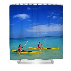 Couple Paddling Shower Curtain by Kyle Rothenborg - Printscapes