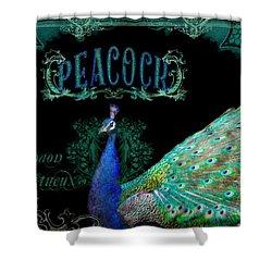 Elegant Peacock W Vintage Scrolls  Shower Curtain by Audrey Jeanne Roberts