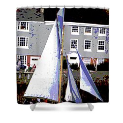 Oyster Boats Shower Curtain by Brian Roscorla
