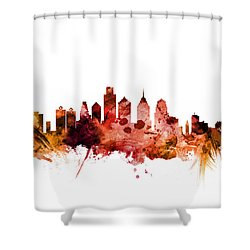Philadelphia Pennsylvania Skyline Shower Curtain by Michael Tompsett