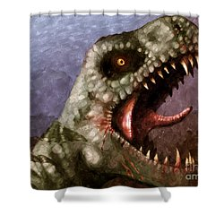 T-rex  Shower Curtain by Pixel  Chimp