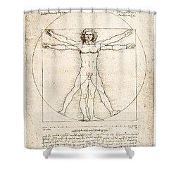 The Proportions Of The Human Figure Shower Curtain by Leonardo Da Vinci