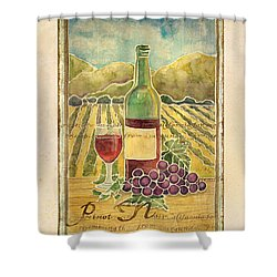 Vineyard Pinot Noir Grapes N Wine - Batik Style Shower Curtain by Audrey Jeanne Roberts