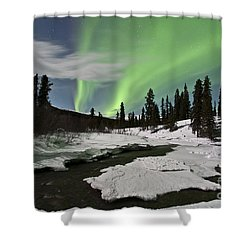 Aurora Borealis Over Creek, Yukon Shower Curtain by Jonathan Tucker
