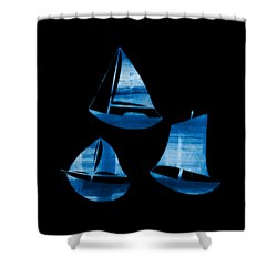 Shower Curtain featuring the painting 3 Little Blue Sailing Boats by Frank Tschakert
