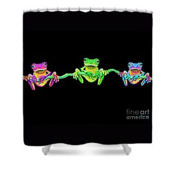 3 Little Frogs Shower Curtain by Nick Gustafson