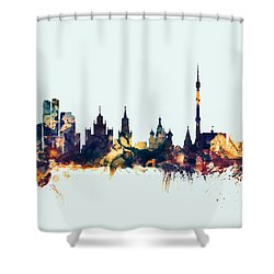 Moscow Russia Skyline Shower Curtain by Michael Tompsett