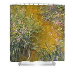 The Path Through The Irises Shower Curtain by Claude Monet