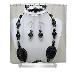 3548 Cracked Agate Necklace Bracelet And Earrings Set Shower Curtain by Teresa Mucha