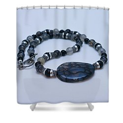 3552 Cracked Agate Necklace Shower Curtain by Teresa Mucha