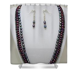 3562 Triple Strand Freshwater Pearl Necklace Set Shower Curtain by Teresa Mucha