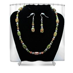 3565 Unakite Necklace And Earrings Set Shower Curtain by Teresa Mucha