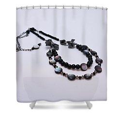 3587 Fun Gunmetal Necklace  Shower Curtain by Teresa Mucha