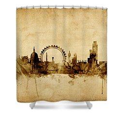 London England Skyline Shower Curtain by Michael Tompsett