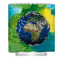 3d Render Of Planet Earth 14 Shower Curtain by Lanjee Chee
