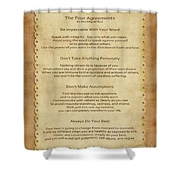 41- The Four Agreements Shower Curtain by Joseph Keane
