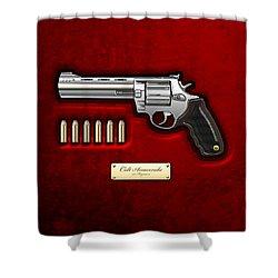 .44 Magnum Colt Anaconda On Red Velvet  Shower Curtain by Serge Averbukh
