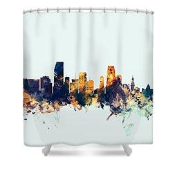 Miami Florida Skyline Shower Curtain by Michael Tompsett