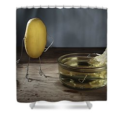 Simple Things - Potatoes Shower Curtain by Nailia Schwarz