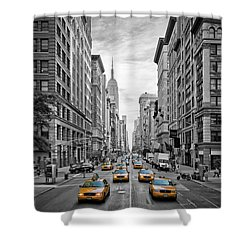 5th Avenue Yellow Cabs - Nyc Shower Curtain by Melanie Viola