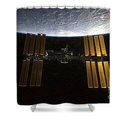 International Space Station Shower Curtain by Stocktrek Images