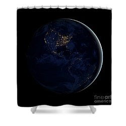 Full Earth At Night Showing City Lights Shower Curtain by Stocktrek Images