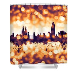 Barcelona Spain Skyline Shower Curtain by Michael Tompsett