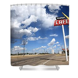 Route 66 Cafe Shower Curtain by Frank Romeo