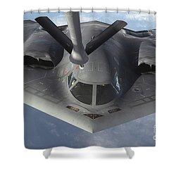 A B-2 Spirit Bomber Prepares To Refuel Shower Curtain by Stocktrek Images