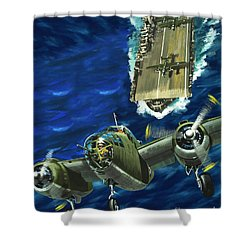 A B52 Bomber Takes Off From An Aircraft Carrier Headed For Japan In World War II Shower Curtain by Wilf Hardy