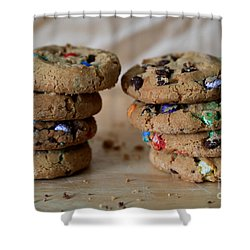 A Balanced Diet Is A Cookie In Each Hand Shower Curtain by Tracy Hall