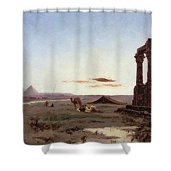 A Bedouin Encampment By A Ruined Temple  Shower Curtain by Alexandre Gabriel Decamps