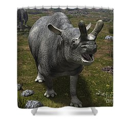 A Brontotherium Leaves His Forest Shower Curtain by Walter Myers