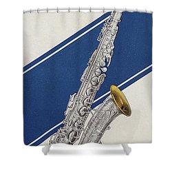 A Charles Gerard Conn Eb Alto Saxophone Shower Curtain by American School