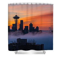 A City Emerges Shower Curtain by Mike Reid