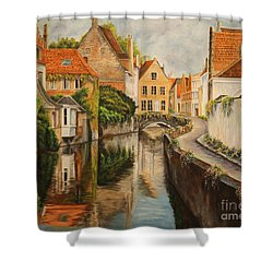 A Day In Brugge Shower Curtain by Charlotte Blanchard