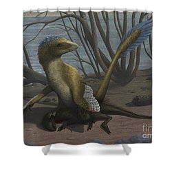 A Deinonychus Protects Its Kill Shower Curtain by Emily Willoughby