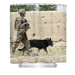 A Dog Handler Of The U.s. Marine Corps Shower Curtain by Stocktrek Images