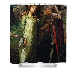 A Knight And His Lady Shower Curtain by William G Mackenzie