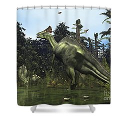 A Lambeosaurus Rears Onto Its Hind Legs Shower Curtain by Walter Myers